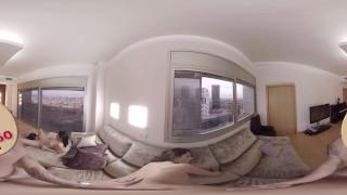 VR Porn Three naughty brunettes suck a fat cock | Virtual Porn 360