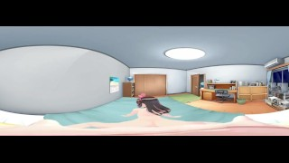 3D 4K VR 360 and 3D - Rear KizunaAI while Mimiku wiating her turn