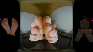 VR 360 POV 4K - Wet Naked Feet Soles and Toes Splashing in Water