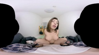 Japanese maid fucks a lucky guy in VR porn