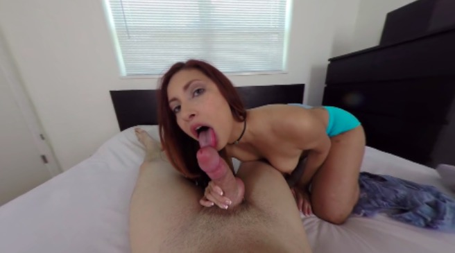 Horny amateur redhead sucks your cock in VR