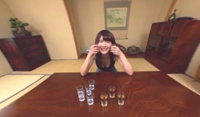 Drink game with horny japanese in VR